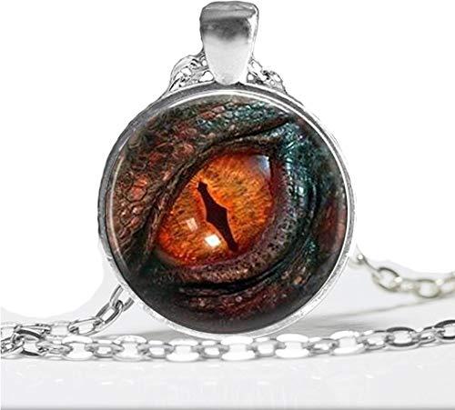 (Dragon Eye Necklace Fiery Dragon Pendant Jewelry Glass Photo Cabochon)