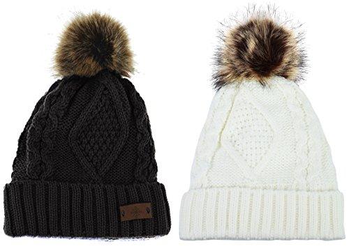 Women's Faux Fur Pom Pom Fleece Lined Knitted Slouchy Beanie Hat (Black & Ivory) by ANGELA & WILLIAM