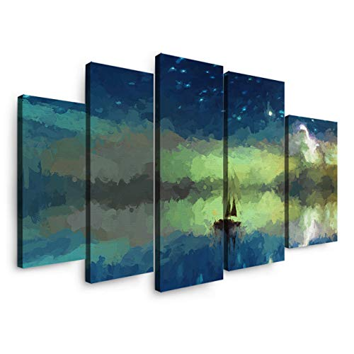 5 Panels Canvas Print Wall Art - Sailing Boat at Night Sky with Stars and Crescent Moon - Wall Decor Pictures for Living Room Modern Artwork Stretched and Framed Ready to Hang (Flag With Crescent Moon And 5 Stars)