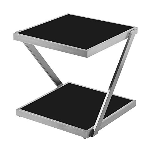 Living Room Side End Table Night Stand Storage Shelf and Modern Square End Table with Black Glass top Matte Silver- Square Side/End Table/Night Stand/Coffee Table (1)