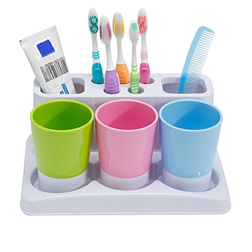 Eslite Toothbrush Toothpaste Holder Stand for Bathroom Stora