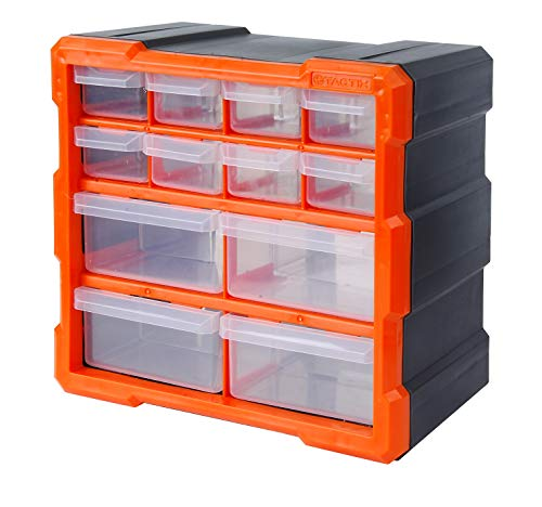 Tactix 320630 12 Drawer Cabinet, Storage & Hardware Parts Organizer, Black/Orange