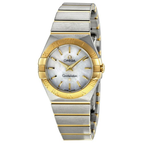 Omega Constellation Mother of Pearl Stainless Steel and 18kt Yellow Gold Ladies Watch 12320276005002