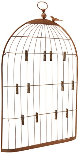 Creative Co-op Wall Birdcage Shaped Card & Photo Holder -