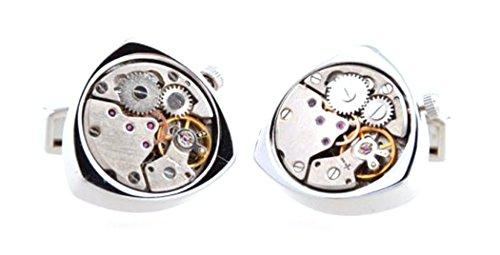 NuoYa001 Popular Silver Triangle Movement Steampunk Mechanical Watch Cufflinks French Cuff Link