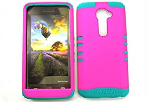 SHOCKPROOF HYBRID CELL PHONE COVER PROTECTOR FACEPLATE HARD CASE AND TEAL SKIN WITH STYLUS PEN. KOOL KASE ROCKER FOR LG G2 VS980I NEON HOT PINK BG-A006-FE