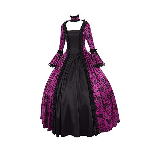 iLOOSKR Fall Winter Women Medieval Gothic Retro Vintage Floral Print Lace Patchwork Ball Gowns Dress ()