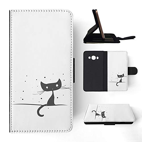3170 Black Matte - Minimalistic Cat 2 Flip Wallet Phone Case Cover for Samsung Galaxy J5 (2016)