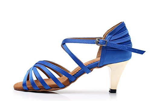 5cm Toe Rumba Women's Joymod Sandals Satin Ballroom Heel High MGM Wedding Peep Blue 6 Tango Salsa Heel Shoes Prom Latin Strap Corss Modern Formal Dance Party Samba Ax4wfX7q
