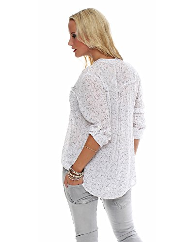 coupe viscose belle 3 floral Fisher blouse chemise 4 ZARMEXX d't bras Chemise tunique tendre blouse Blanc lgre 1TtYxq