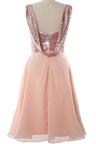 MACloth Gorgeous Sequin Short Bridesmaid Dress Cowl Back Cocktail Formal Gown Light Gold