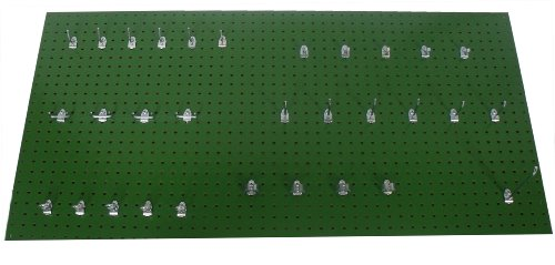 Triton Products TPB-36GH-Kit 24-InchWx48-InchH Custom Painted Tractor Heavy Duty Tempered Round Hole Pegboards with Locking Hook Assortment, Green