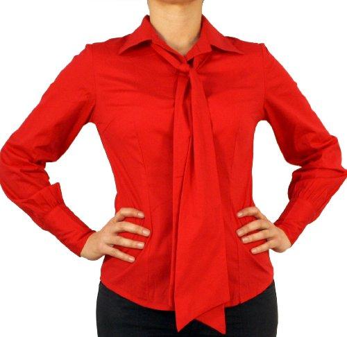 9632 Dames Mesdames chemisier, Femmes blouse, coton, manches longues, avec un arc, rouge 44/XL!