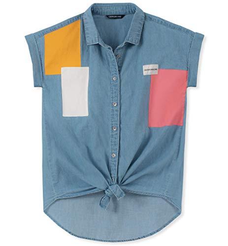 Calvin Klein Big Girls Denim Shirt, Block Chambray Blue, X-Large16