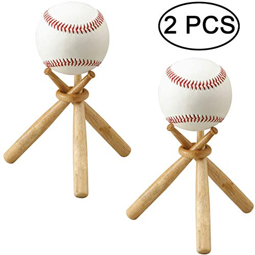 Ball Baseball Holder Bat - TIHOOD 2 Packs Wooden Baseball Display Stand Holder -Consists of 3 Mini Baseball Bat