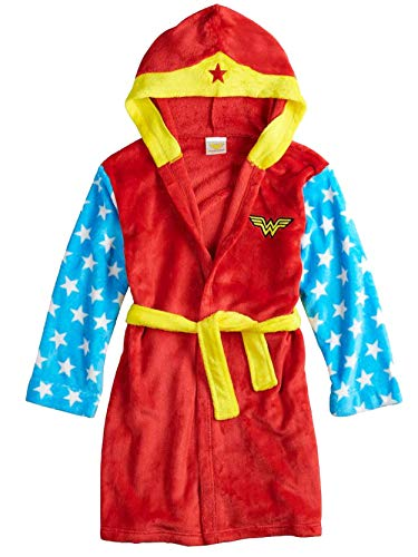 DC Comics Wonder Woman Girls Plush Fleece Bathrobe Robe (Large / 10-12, Red/Blue)