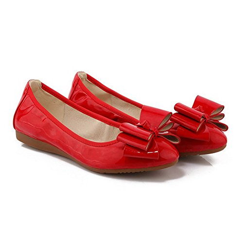 AllhqFashion Womens Patent Leather Pull-on Pointed Closed Toe Low-Heels Solid Pumps-Shoes, Red, 36