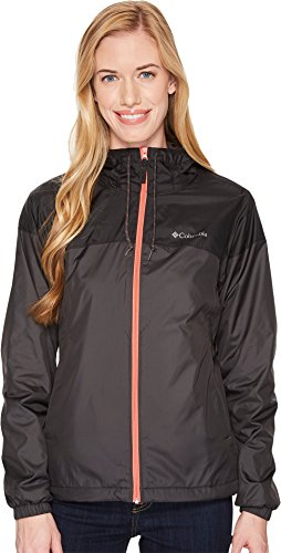 Columbia Women's Flash Forward Lined Windbreaker Jacket, Shark, Black, (Lined Windbreaker Jacket)