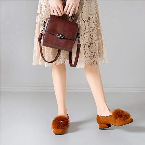 Lazy Genuine Brown T Women's Chunky Low Comfy JULY Dress Shoes Heel Slip Pumps Leather on Shallow Loafers Mouth Fur Sweet CCq1HxT