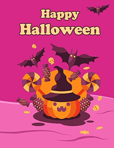 Happy Halloween: Halloween Pumpkin Themed, Primary Writing Tablet for Kids, 65 Sheets of Blank Lined Practice Paper with 1