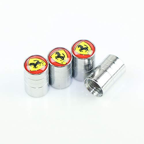 4Pcs Silver Car Tire Valve Stem Caps for Ferrari