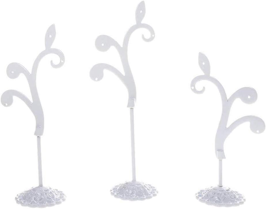 Ogquaton Titulaire de bijoux d/étachable arbre de mode boucles doreilles en fer forg/é suspendu pr/ésentoir d/écoratif pour la plupart des bijoux 3 PCS blanc de haute qualit/é