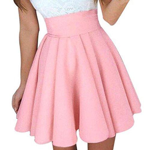 TOPUNDER Party Cocktail Mini Skirt Ladies Summer Skater Skirt For Women (Suit Silk Skirt Wool)