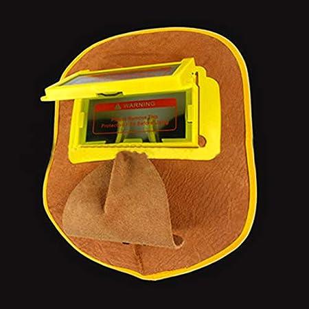 UKNANY m/áscara de soldadura fotoel/éctrica autom/ática m/áscara de atenuaci/ón de cuero vacuno no reversible Diadema de piel con gancho para la oreja