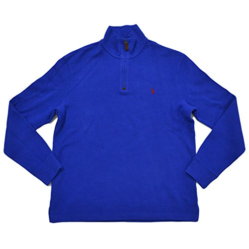 (Polo Ralph Lauren Mens French Rib 1/4 Zip Mock Neck Sweater (S, Cruise Royal))