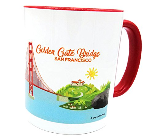 CCM-01 San Francisco Coffee Mug Golden Gate Bridge Red Handle & Interior 11oz Collector Series (Mugs San Francisco)