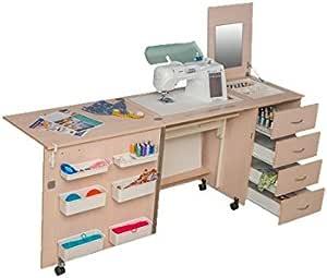 Comfort 2   mesa para máquina de coser  , Premium White, L (Air-Lifter à 15kg): Amazon.es: Hogar