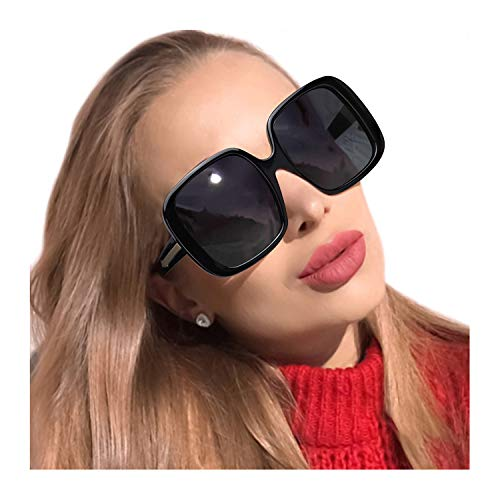MuJaJa Oversized Sunglasses for Women Polarized Classic Square Trendy Vintage Eyewear for Outdoor-100% UV Protection (Black Grey) (Oversized Square Sunglasses)