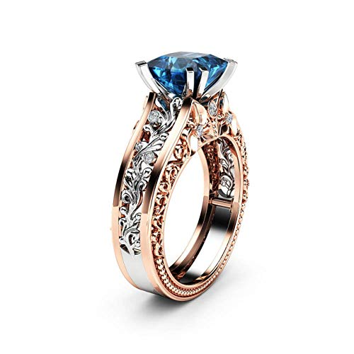 Women Color Separation Ring Rose Gold Leaf Hollow Flower Band Rings Blue Crystal Diamond Jewelry Ring Bride Luxury Gift (De Anillo Bodas)