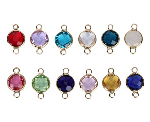 Birthstone Austrian Crystal Rings - 1 Set Mixed Birthstone Charms 8mm Austrian Crystal Beads (12 birthstone charms), 14k Gold Plated, CCP3-G