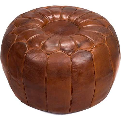 Amazoncom Large Pouf Ottoman Luxury Pouf Brown Darker Leather