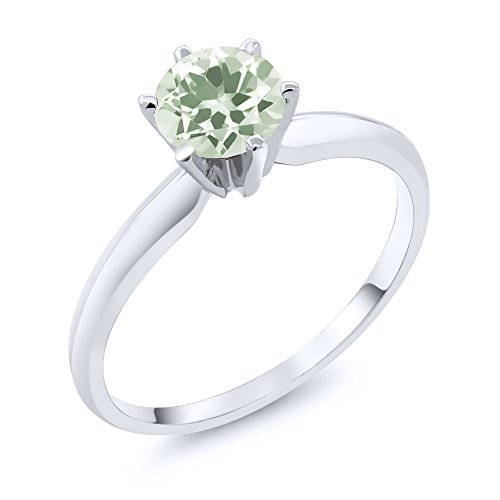Green Amethyst Solitaire Ring (0.95 Ct Green Amethyst 14K White Gold Engagement Solitaire Ring (Ring Size 9))