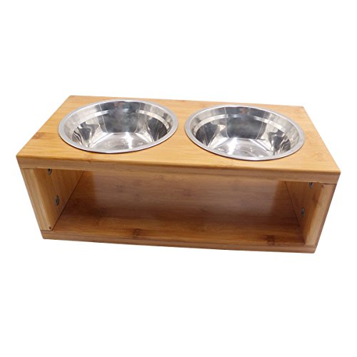 Cheap Blue Hole Elevated Dog Food Bowl With Bamboo Stand, Removable Pet Feeder Dog Food and Water Storage (M, Bamboo)