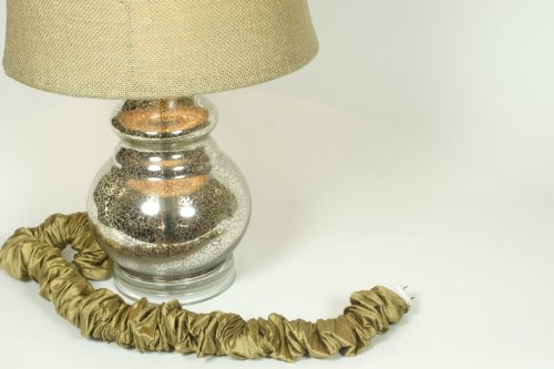 Discount Silk - Antique Gold Silk Lamp Cord Cover 9 ft long *Discount Shipping with 2+ Covers*