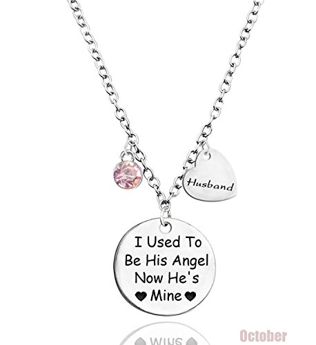 TISDA I Used To Be His Angel Now He's Mine Necklace Husband, Memorial Necklace,Stainless steel (J October)