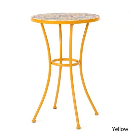 Barnsfield Outdoor Round Tile Side Table, Featuring Bright Flower-based Designs, Wonderful Accent to every Patio, Durable Ceramic, Sturdy Powder Coated Iron