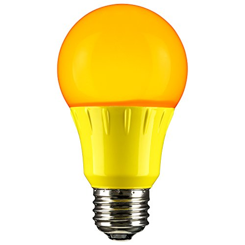 Sunlite 80149 Yellow LED A19 3 Watt Medium Base 120 Volt UL Listed LED Light Bulb, last 25,000 Hours (Bug Light)