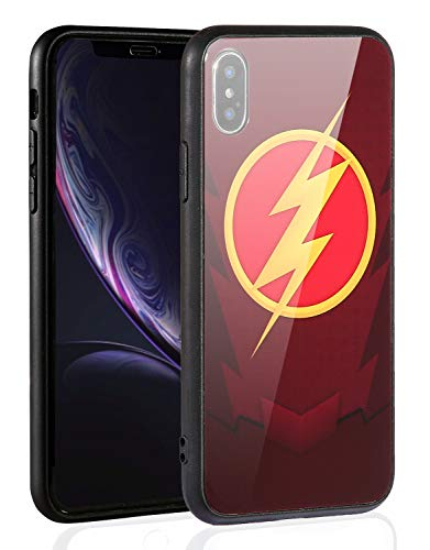 Justice League Superhero Theme Designed for Apple iPhone Xs Case (2018) / Designed for Apple iPhone X Case (2017), Tempered Glass Back Cover and Soft Silicone Rubber Bumper Frame (The Flash 09)