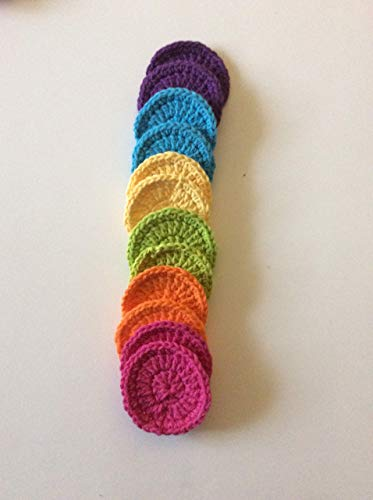 Crochet Cotton Face Scrubbies, Face Scrub, Face Spa, Make Up Remover in Cotton Yarn in Rainbow Colors, Set of 12 (Best Yarn For Crochet Washcloth)