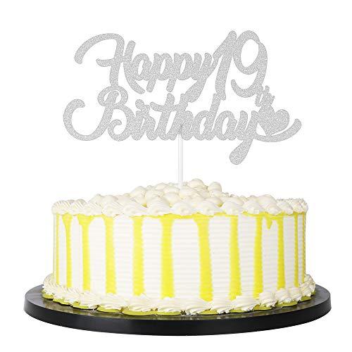 PALASASA Silver Single Sided Glitter Happy 19th Birthday, 19 Anniversary Cake Topper Party Decoration -