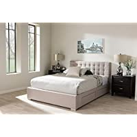 Baxton Studio Rene King Storage Platform Bed in Beige