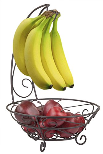Home Basics Bronze Scroll Fruit Basket with Banana - Fruits Basket Scroll