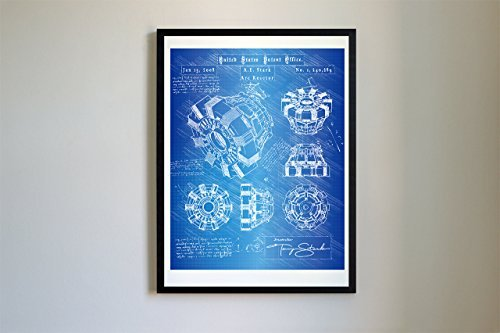 #114 Iron Man Arc Reactor Patent Art - Da Vinci Patent Prints, Poster, Artwork (11x14, Blueprint)