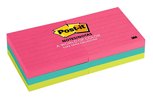 (Post-it Notes, 3 in x 3 in, America's #1 Favorite Sticky Note, Cape Town Collection, Lined, 6 Pads/Pack (630-6AN))
