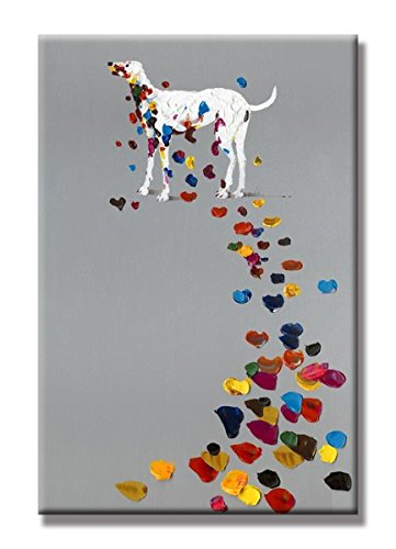 SEVEN WALL ARTS - Funny Dog Animal Paintings Abstract Labrador Retriever Dog with Colorful Footprint Painting Stretched and Framed Ready to Hang Living Room Bedroom Office Bathroom 24x36 Inch