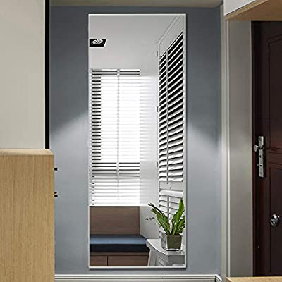 """MIRRORCC Aluminum Alloy Thin Frame Full Length Mirror Floor Mirror, Large Rectangle Dressing Mirror Wall-Mounted Mirror Bedroom Mirror, Standing Hanging or Leaning Against Wall, Silver, 65""""x22"""" - 100% GUARANTEED full refund/replacements (no return needed) for mirrors damaged on arrival or with manufacturer defects, simply send us some pictures through Amazon Message to show the damaged mirror(s)/manufacturer defects areas, the outer boxes (front and back views) and the label(s) information. Full size, 65""""x22"""", very large. Ready to lean to the wall, free standing with the stand, or wall-mounted vertically or horizontally with the gourd hooks on back (one at each side), fits almost everywhere. Silver aluminum alloy thin frame, simple and textured, noble, elegant, graceful, aesthetic and sleek styling making the mirror an eye catching addition to any modern and classic suite. - mirrors-bedroom-decor, bedroom-decor, bedroom - 41tJ0ZEIKqL. SS400  -"""